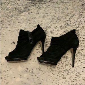Bakers black suede high heel platform booties